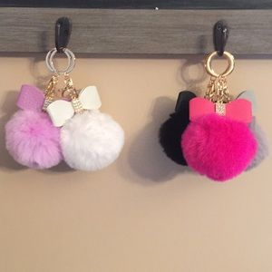 Pompom Key Ring With Faux Leather Bow